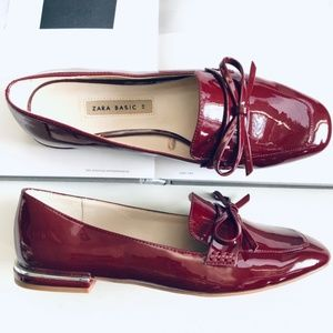 NWOT Zara Burgundy Faux Patent Leather Loafers